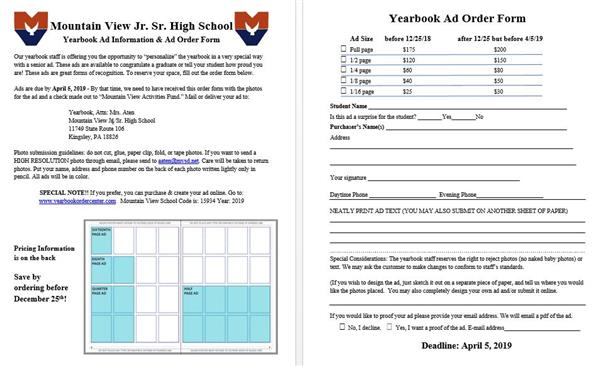 Yearbook Ad Order Form